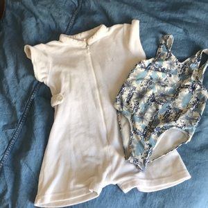 Terry zip cover up & blue & white floral swimsuit